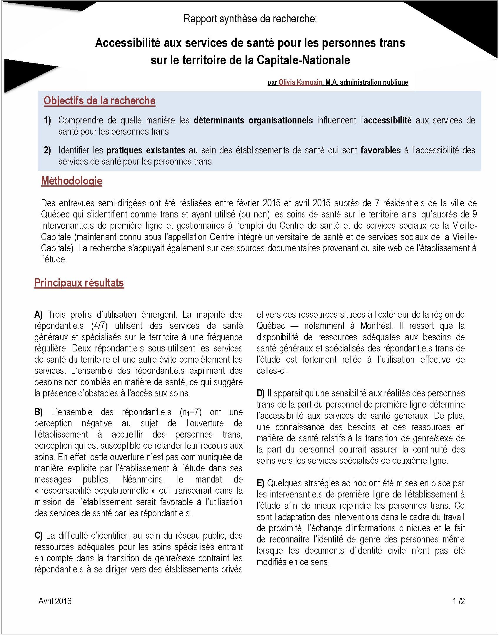Rapport synthese Acces aux services de sante pour les personnes trans au CIUSS Capitale Nationale Page 1
