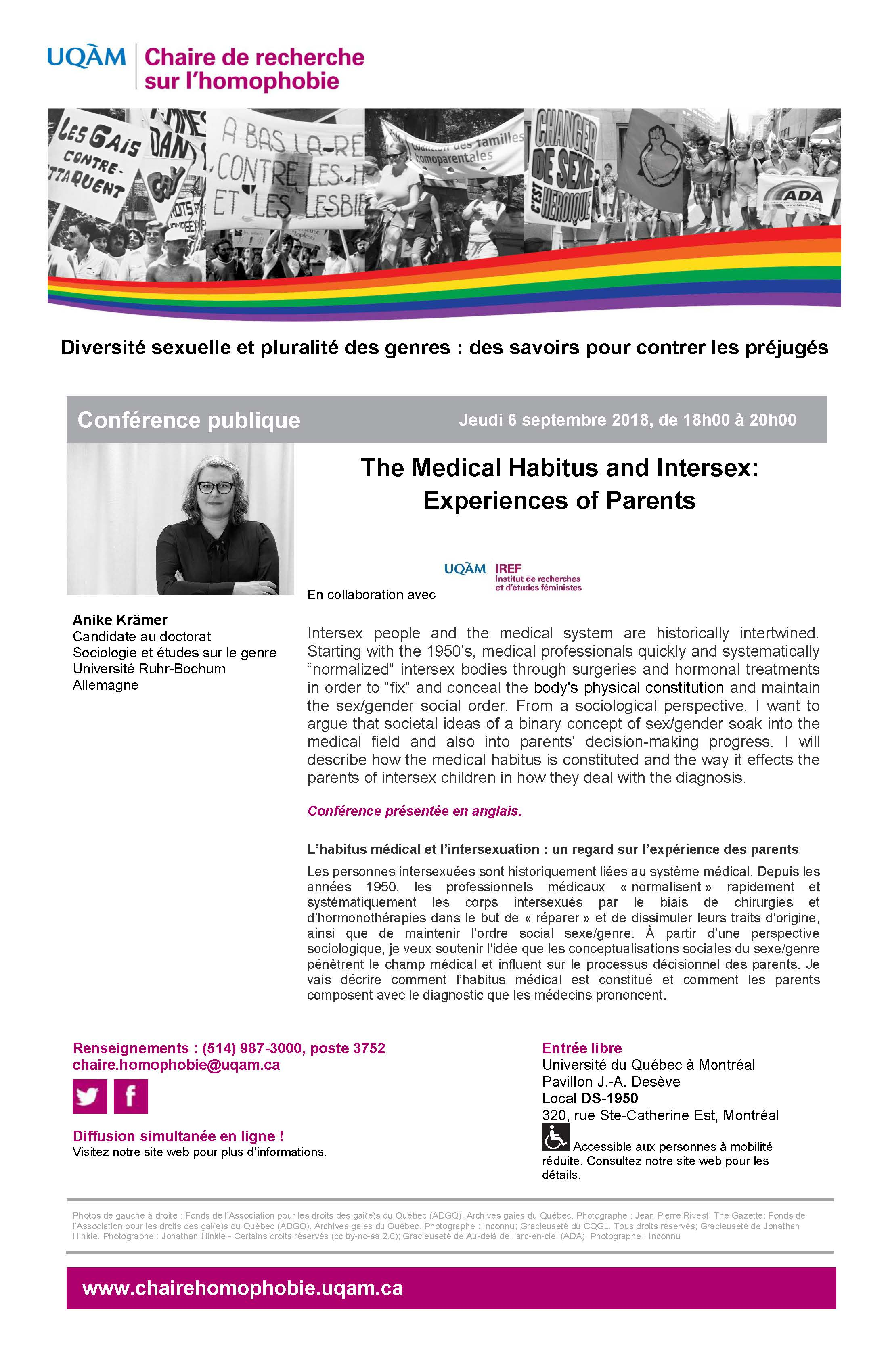 CONFÉRENCE PUBLIQUE | ''The Medical Habitus and Intersex: Experiences of Parents''
