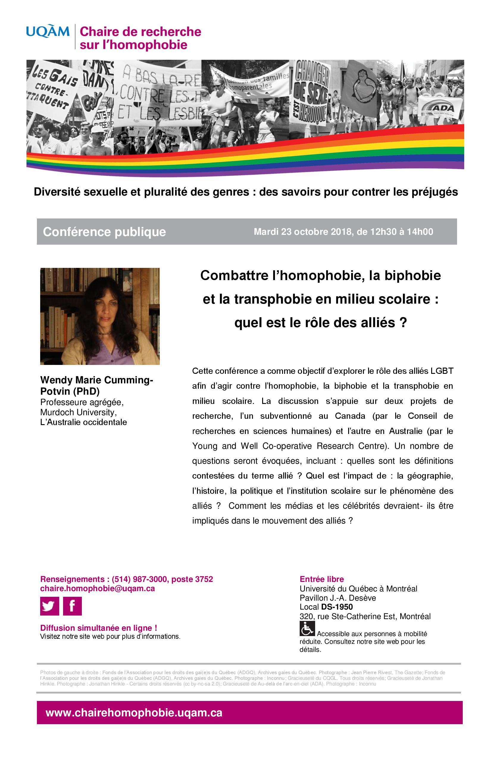 CONFÉRENCE PUBLIQUE | Combattre l'homophobie, la biphobie et la transphobie en milieu scolaire : Quel est le rôle des allié·e·s ?