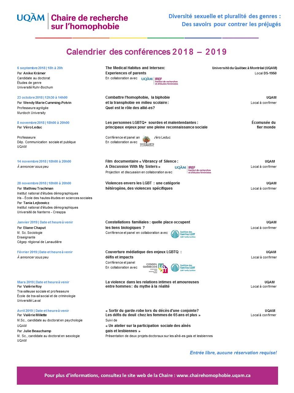 Programmation des conférences mensuelles 2018-2019