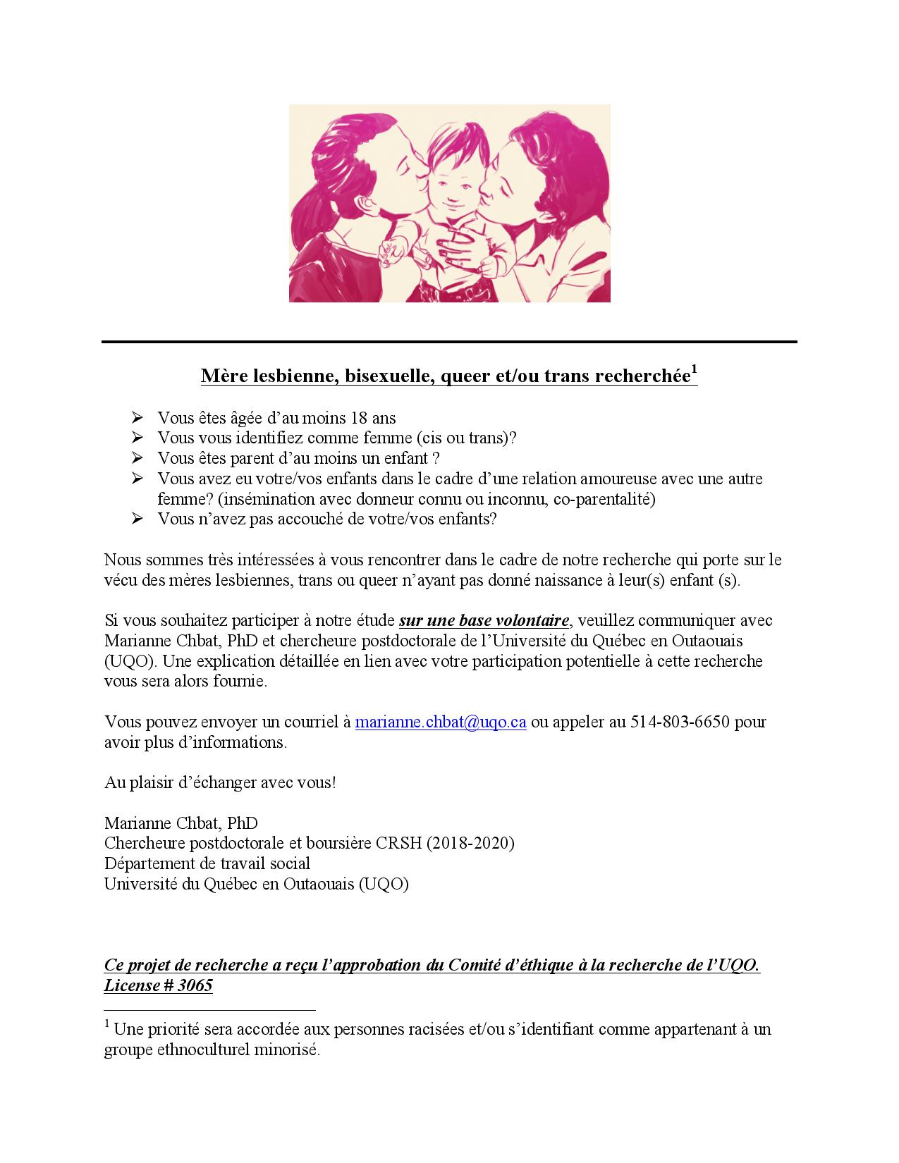 Appel à participation | « Mère lesbienne, bisexuelle, queer et/ou trans recherchée »