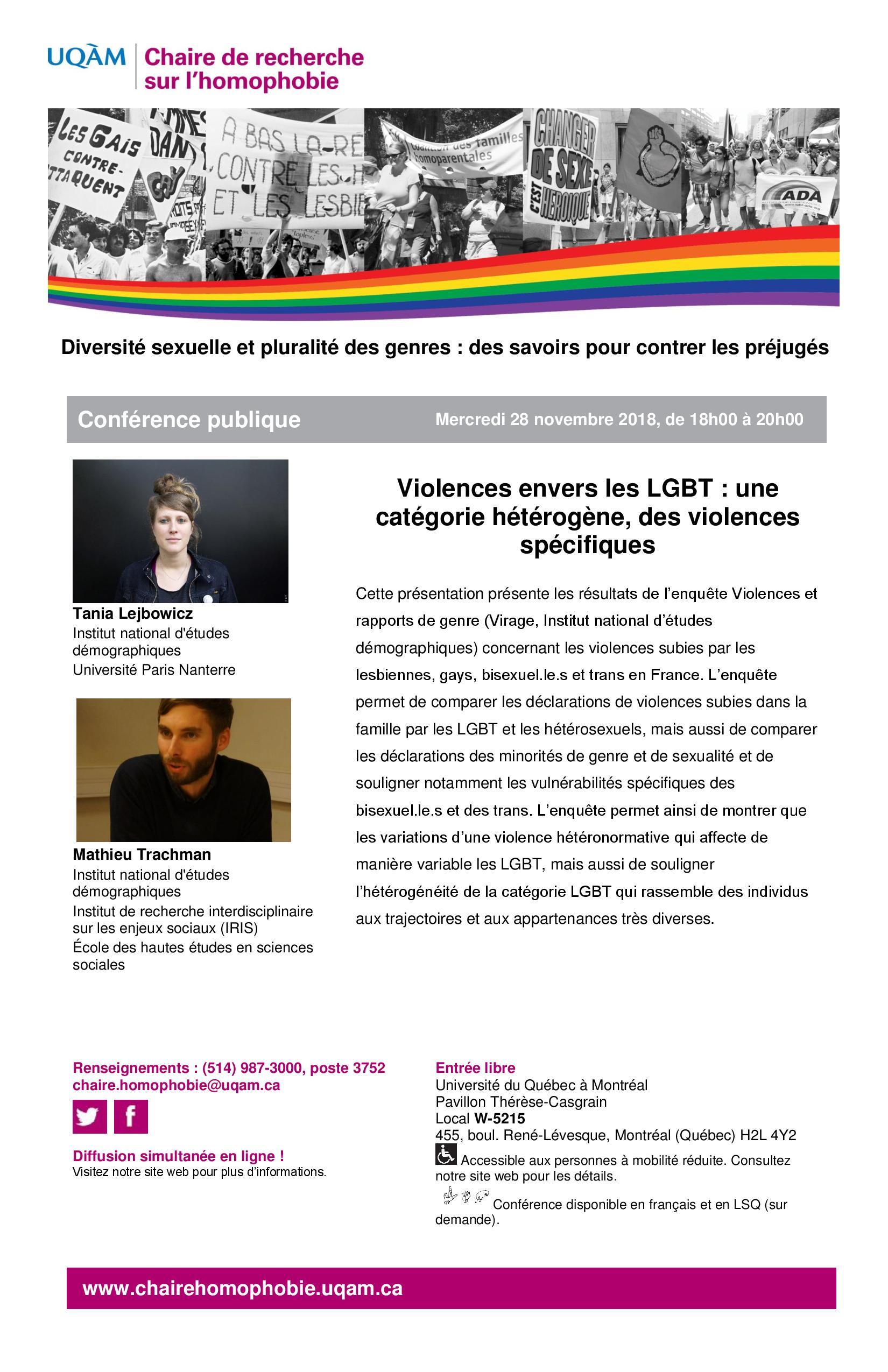 Conférence publique | Violences envers les LGBT : une catégorie hétérogène, des violences spécifiques