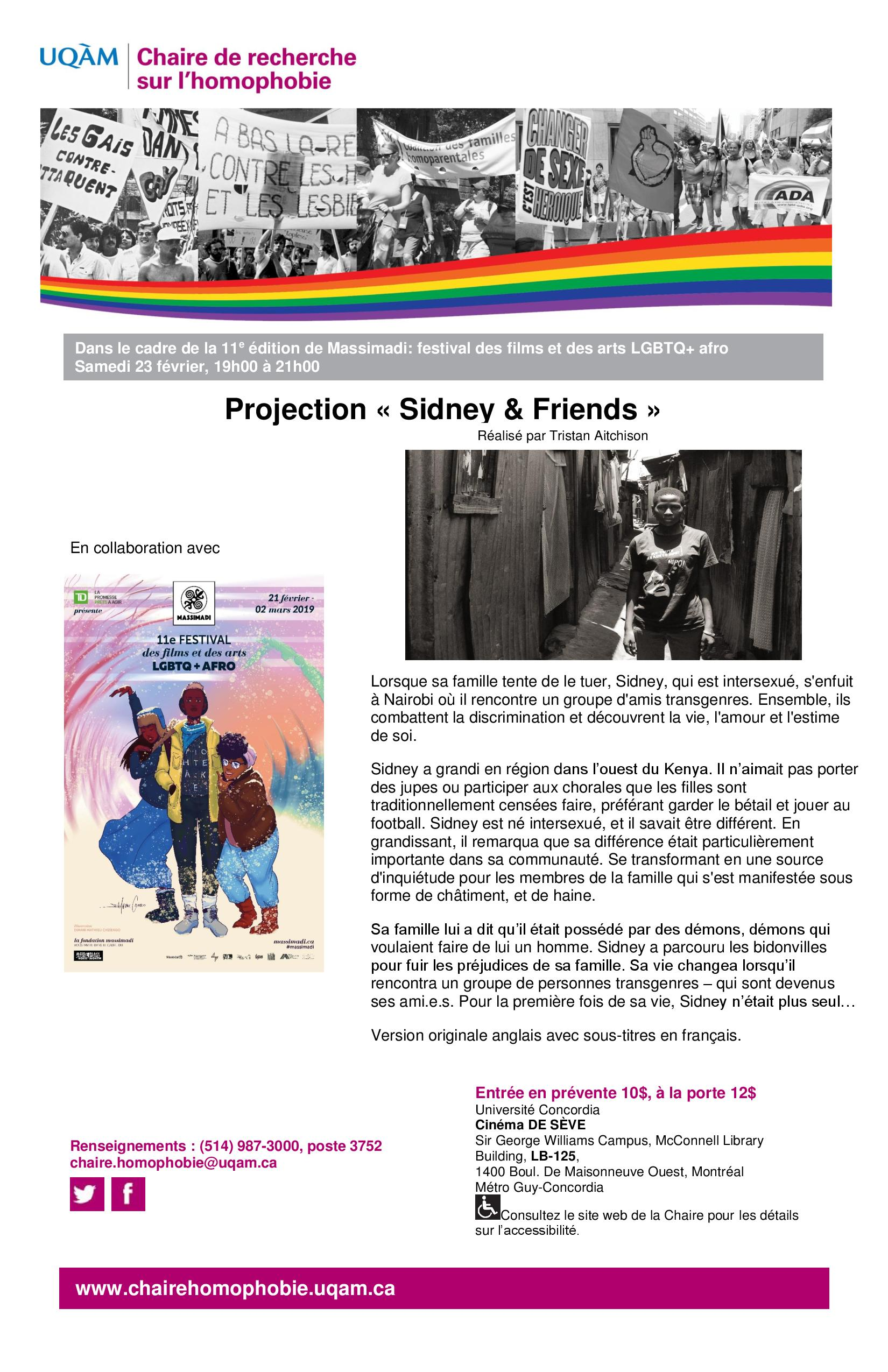 Projection-documentaire   « Sidney and Friends »