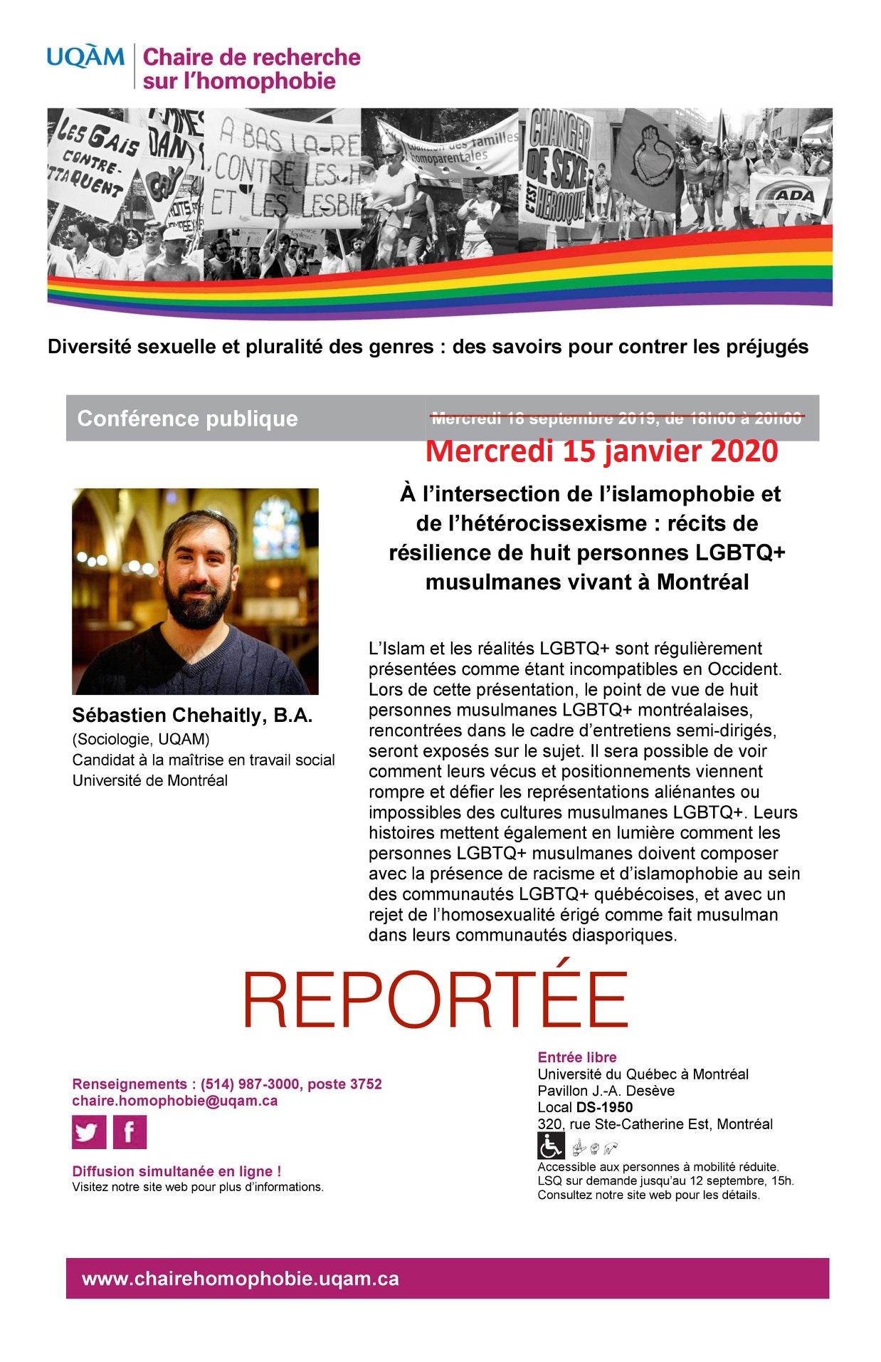 REPORTÉE CONFÉRENCE PUBLIQUE   « À l'intersection de l'islamophobie et de l'hétérocissexisme : récits de résilience de huit personnes LGBTQ+ musulmanes vivant à Montréal »