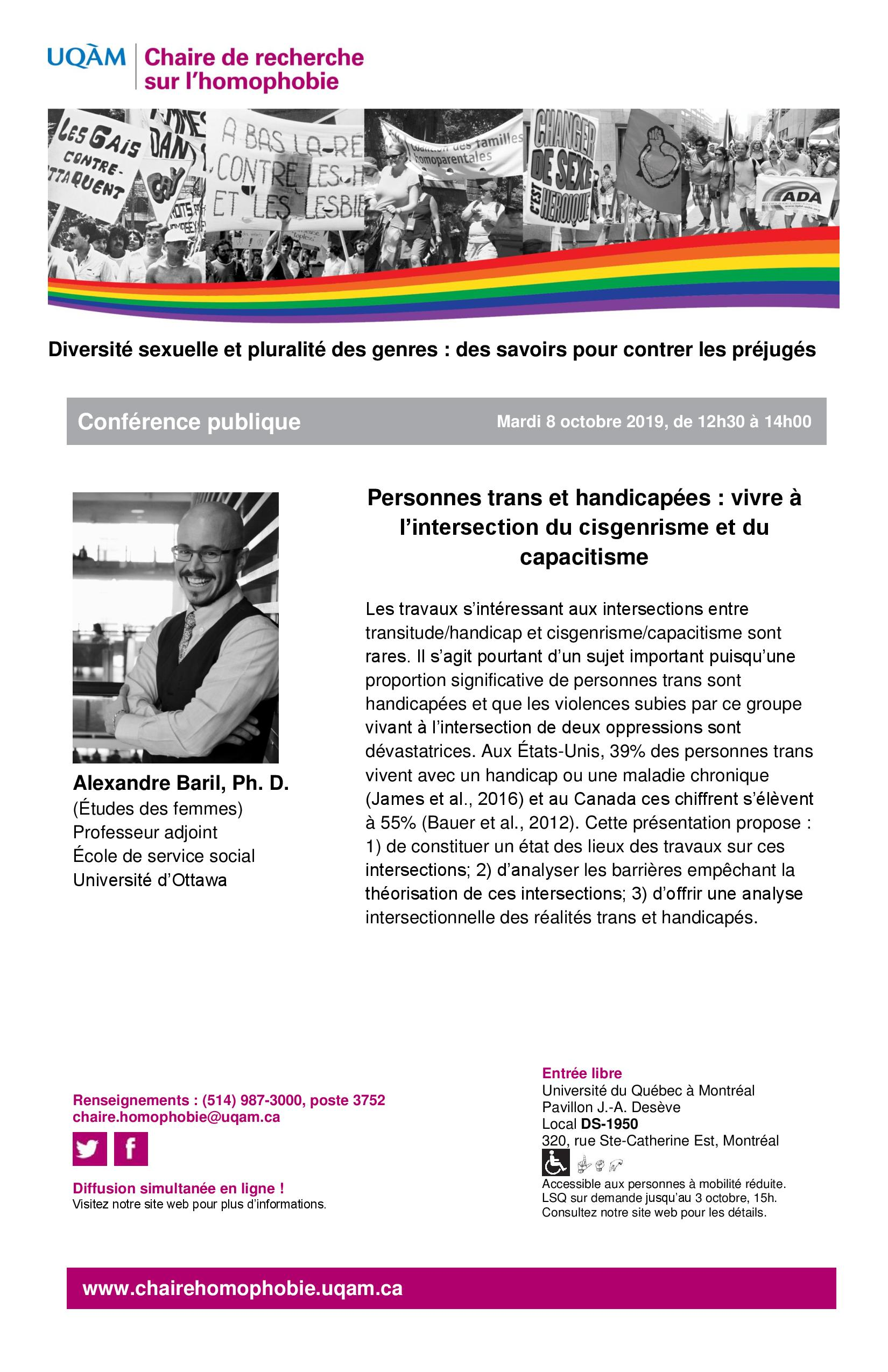 CONFÉRENCE PUBLIQUE   Personnes trans et handicapées: vivre à  l'intersection du cisgenrisme et du capacitisme