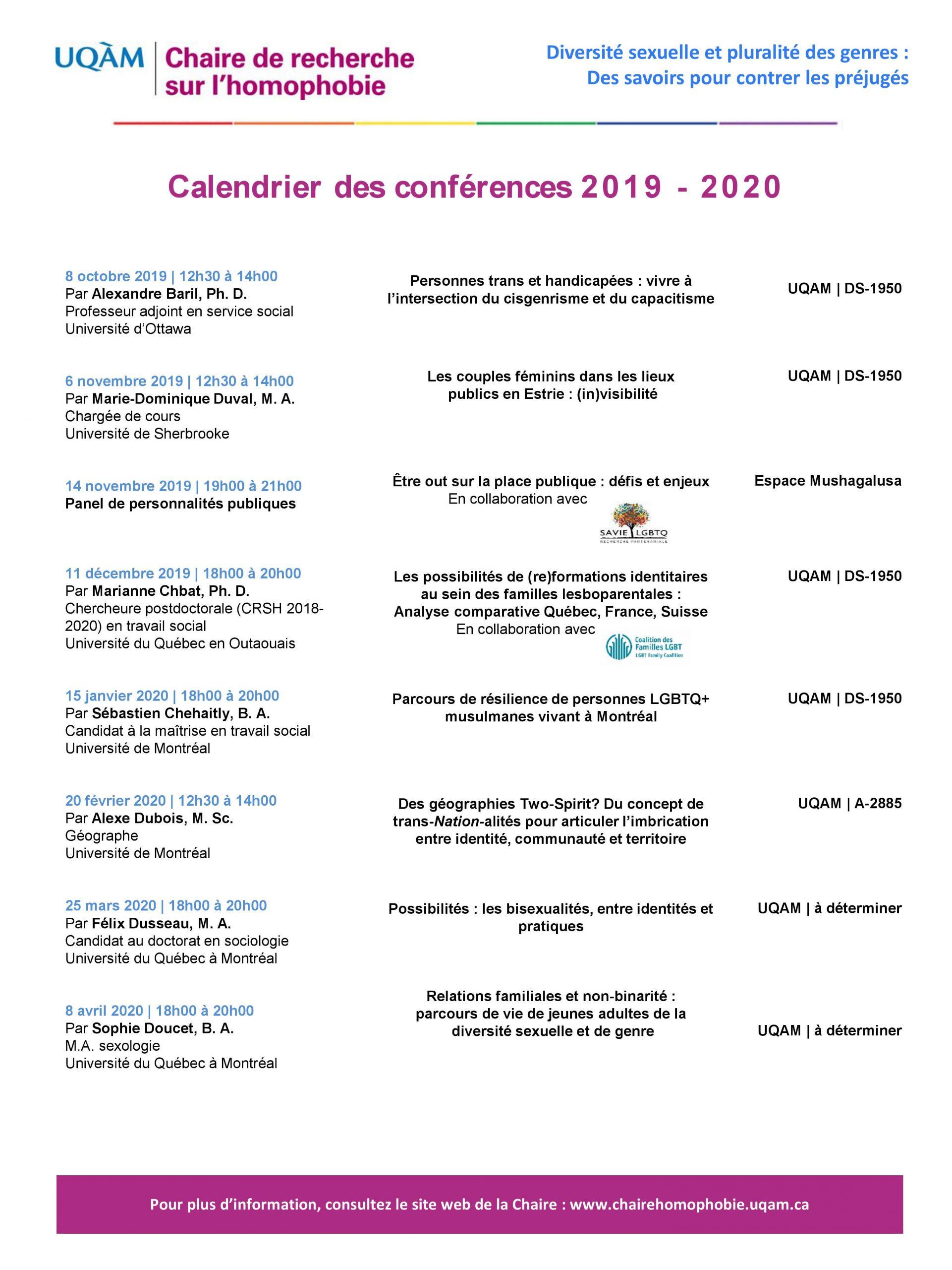 Programmation des conférences mensuelles 2019-2020