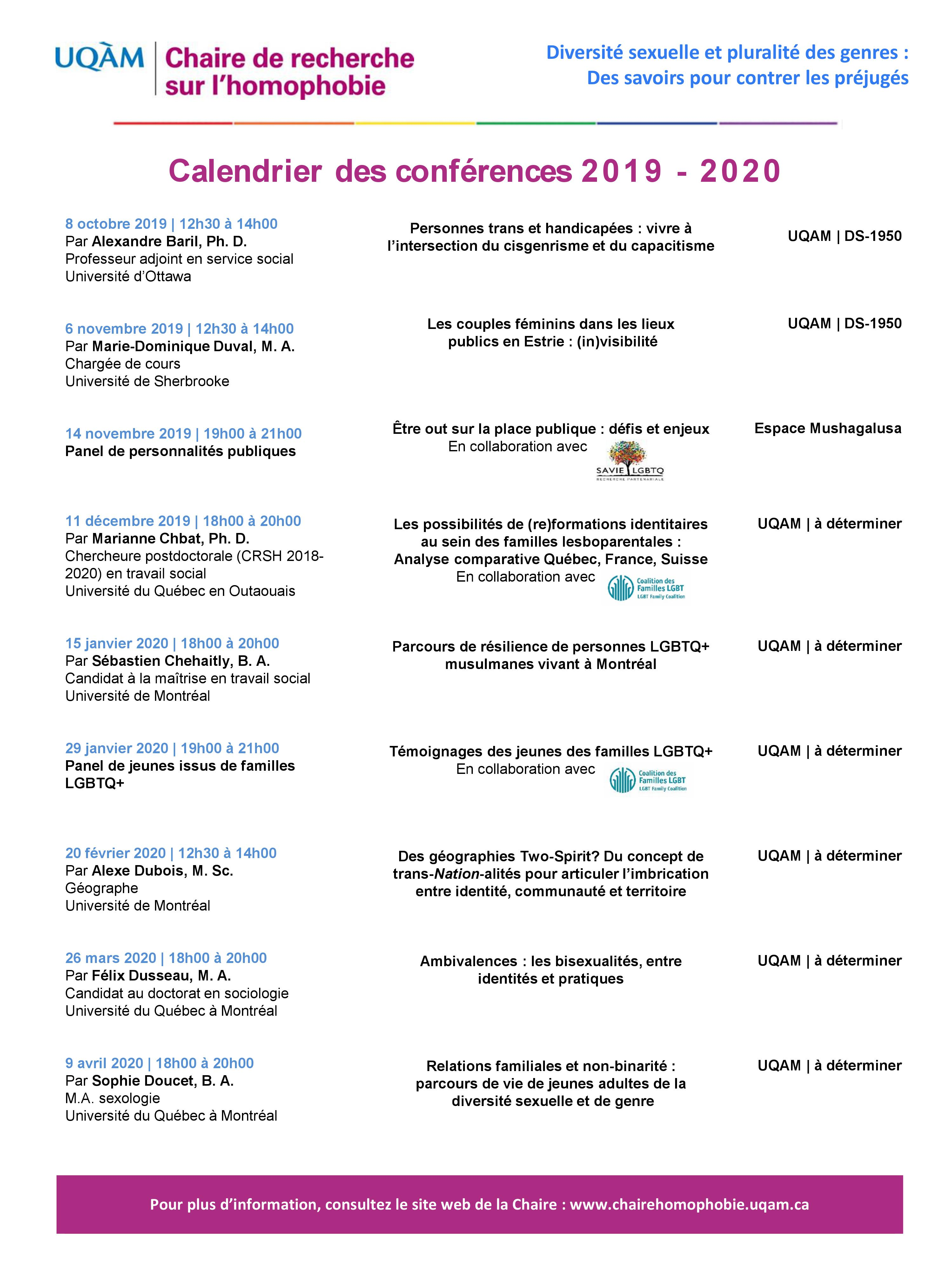 Affiche du calendrier