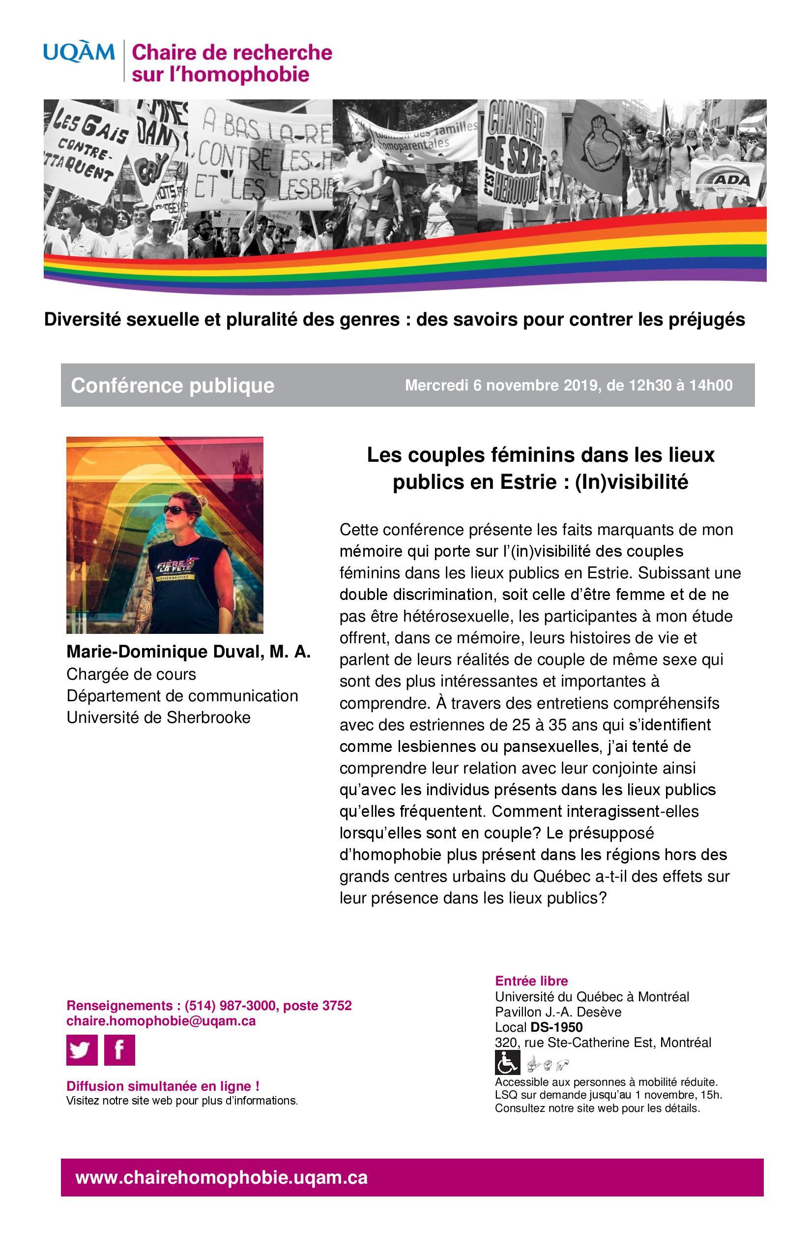 CONFÉRENCE PUBLIQUE |  Les couples féminins dans les lieux publics en Estrie : (In)visibilité
