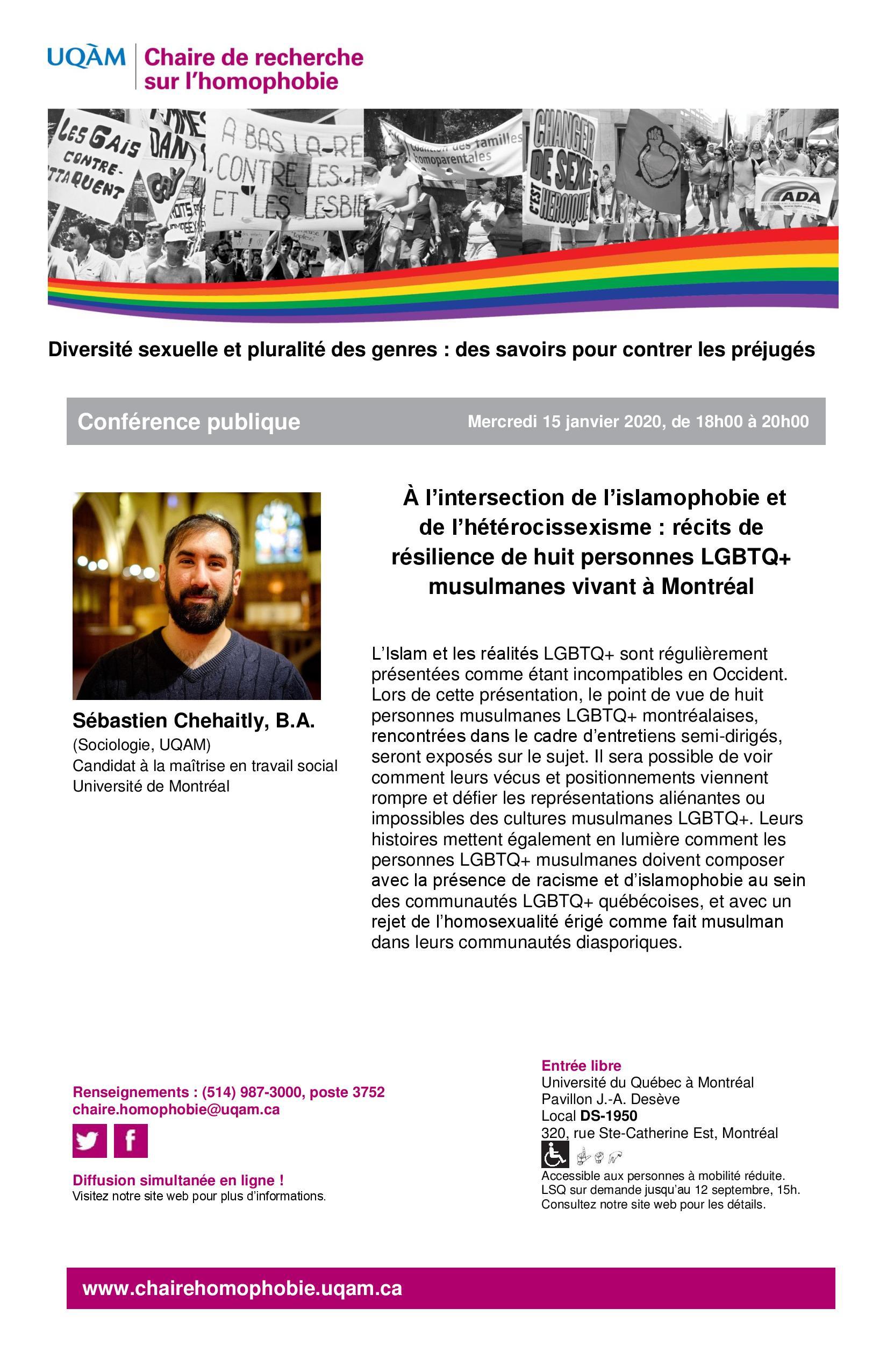 CONFÉRENCE PUBLIQUE | « À l'intersection de l'islamophobie et de l'hétérocissexisme : récits de résilience de huit personnes LGBTQ+ musulmanes vivant à Montréal »