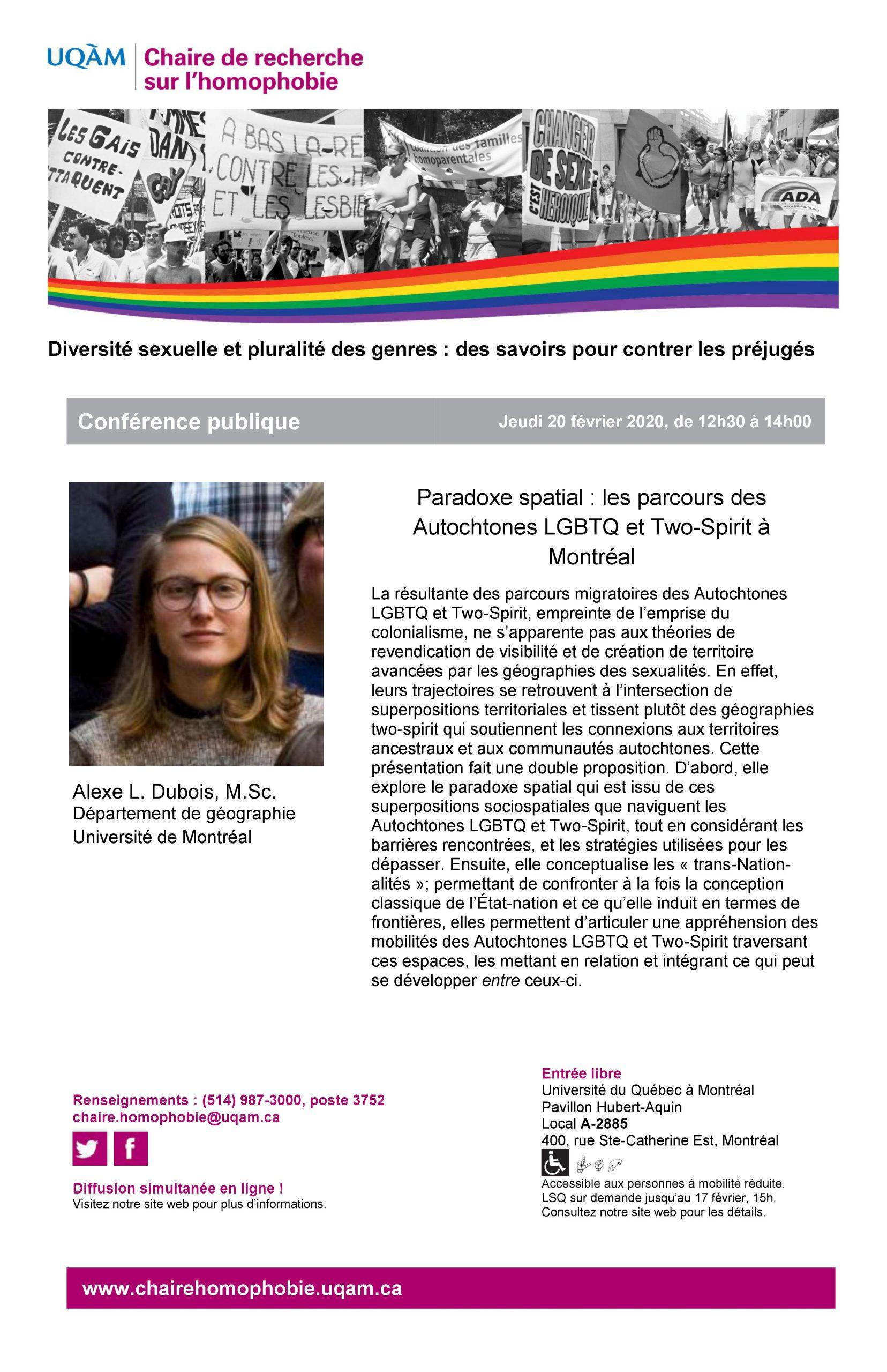 CONFÉRENCE PUBLIQUE | Paradoxe spatial : les parcours des Autochtones LGBTQ et Two-Spirit à Montréal