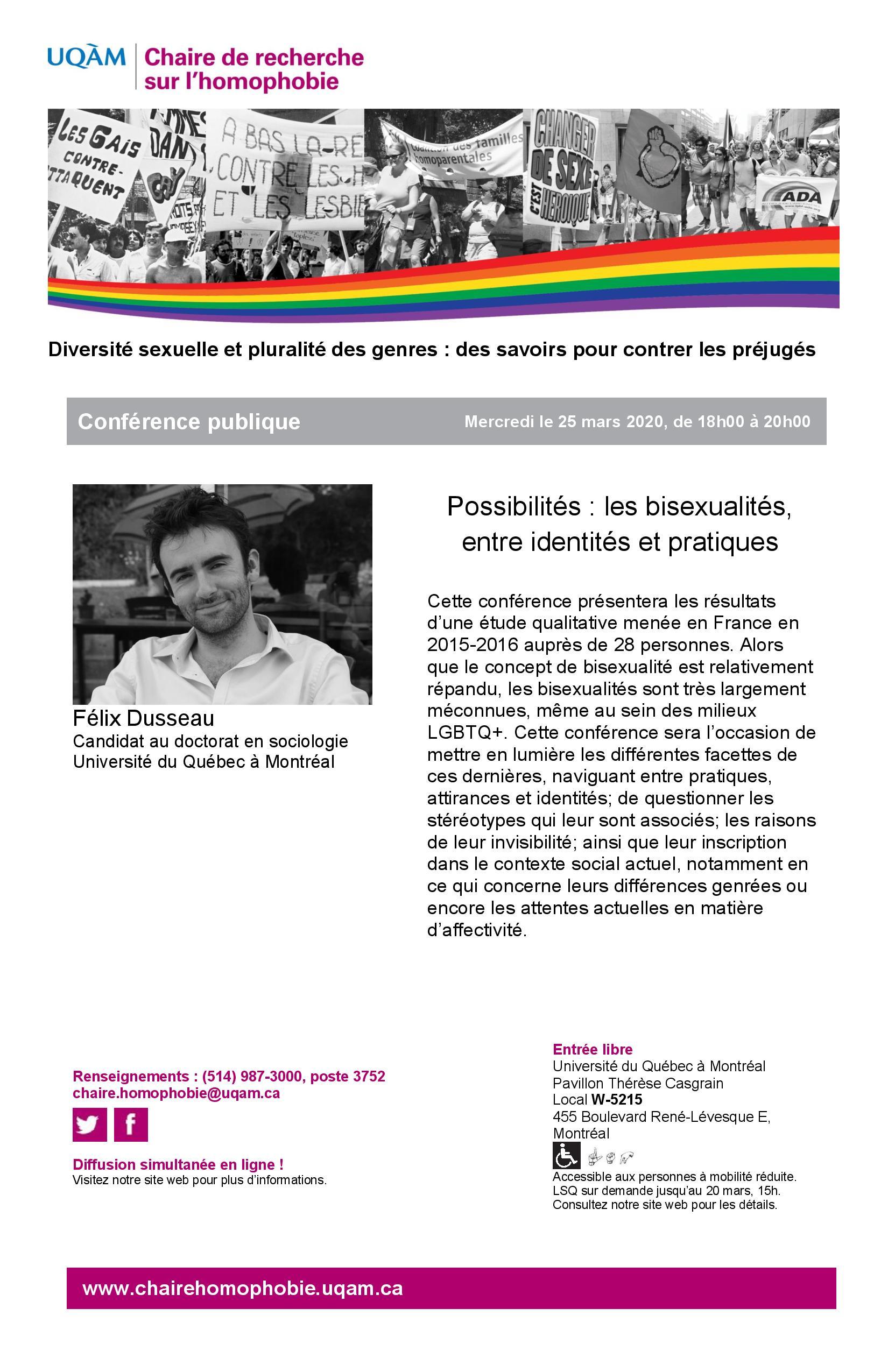 REPORTÉE CONFÉRENCE PUBLIQUE | Possibilités : les bisexualités, entre identités et pratiques