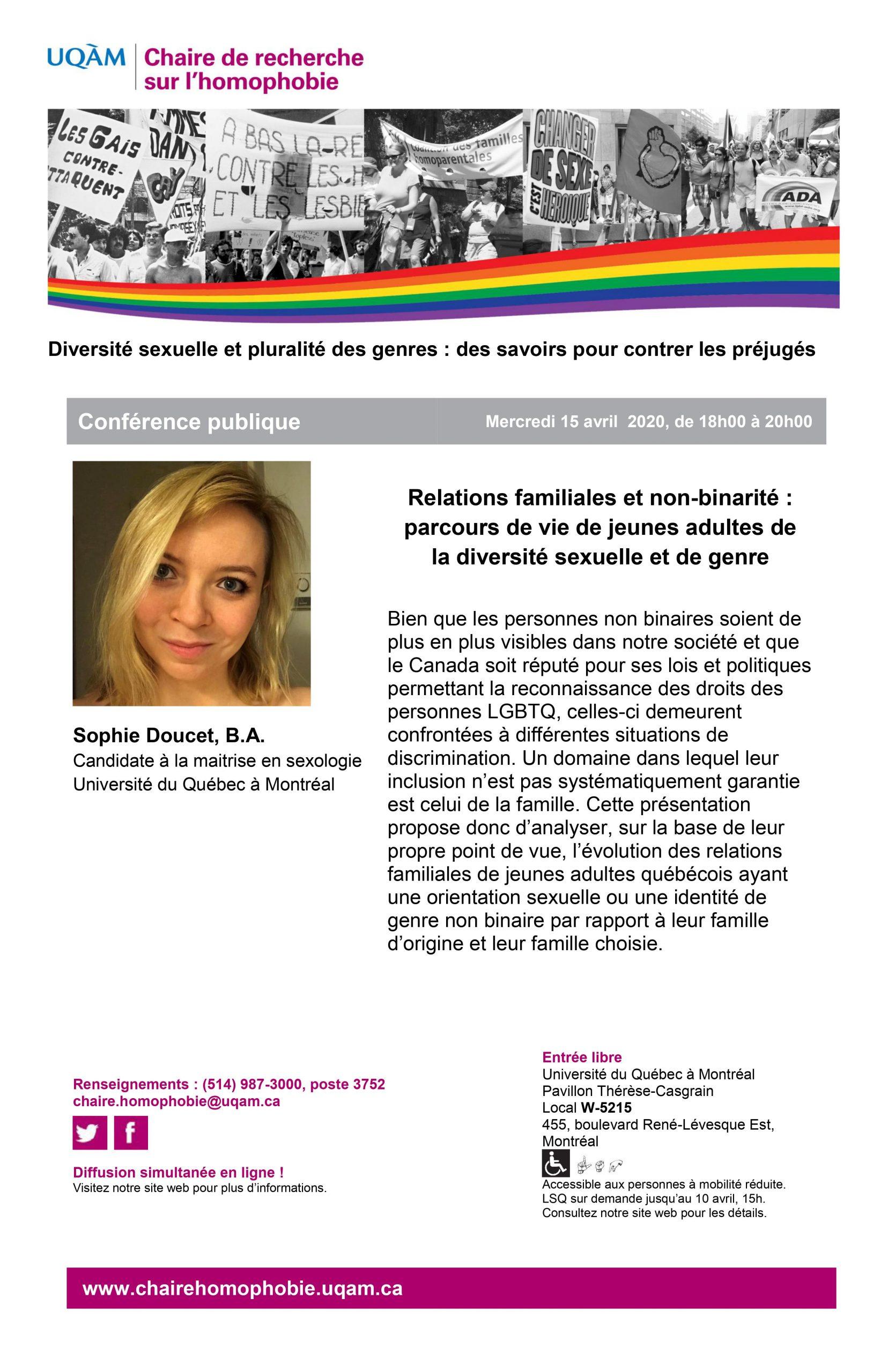 REPORTÉE CONFÉRENCE PUBLIQUE | Relations familiales et non-binarité : parcours de vie de jeunes adultes de la diversité sexuelle et de genre