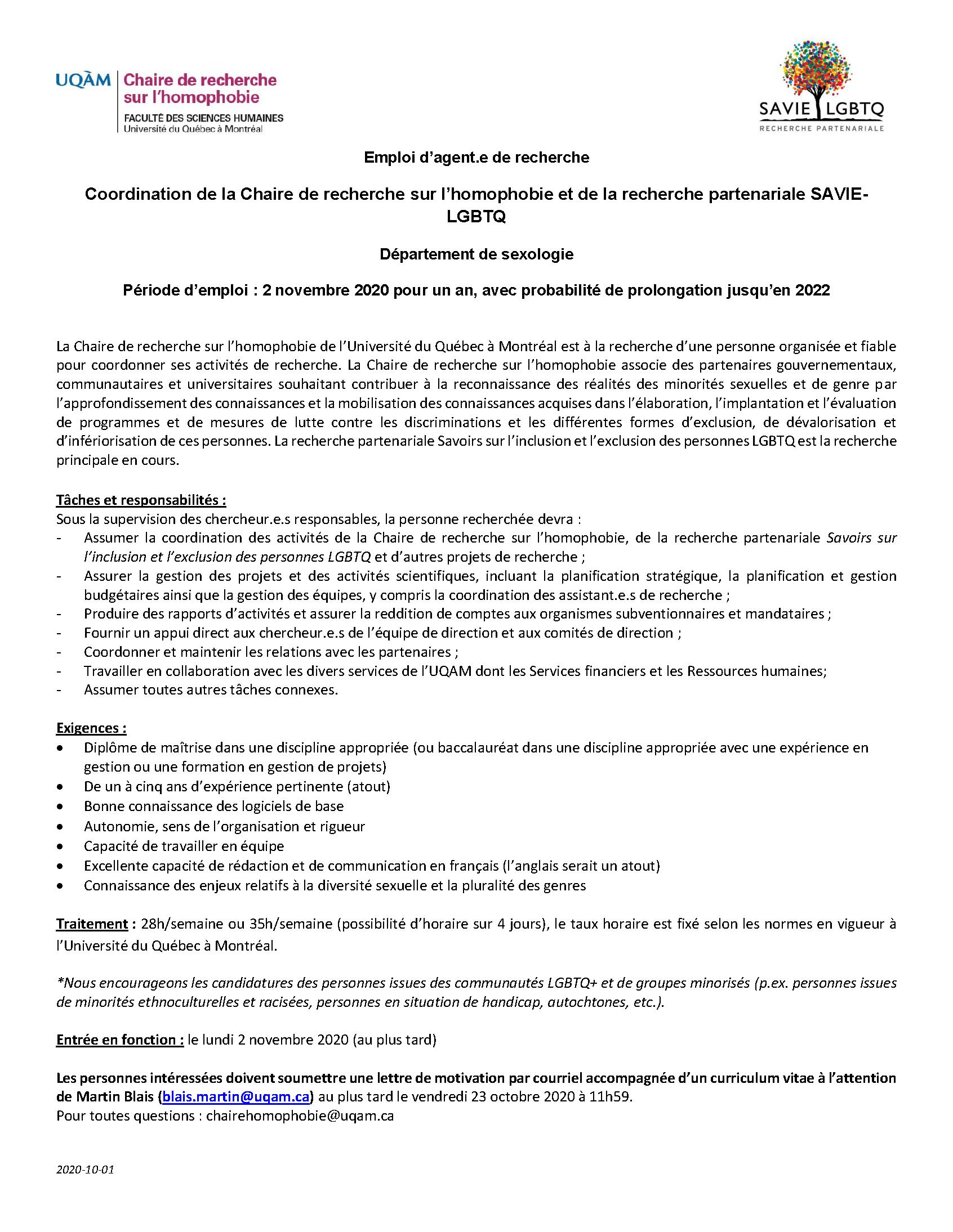 Offre d'emploi   Coordination de la Chaire de recherche sur l'homophobie et de la recherche partenariale SAVIE-LGBTQ