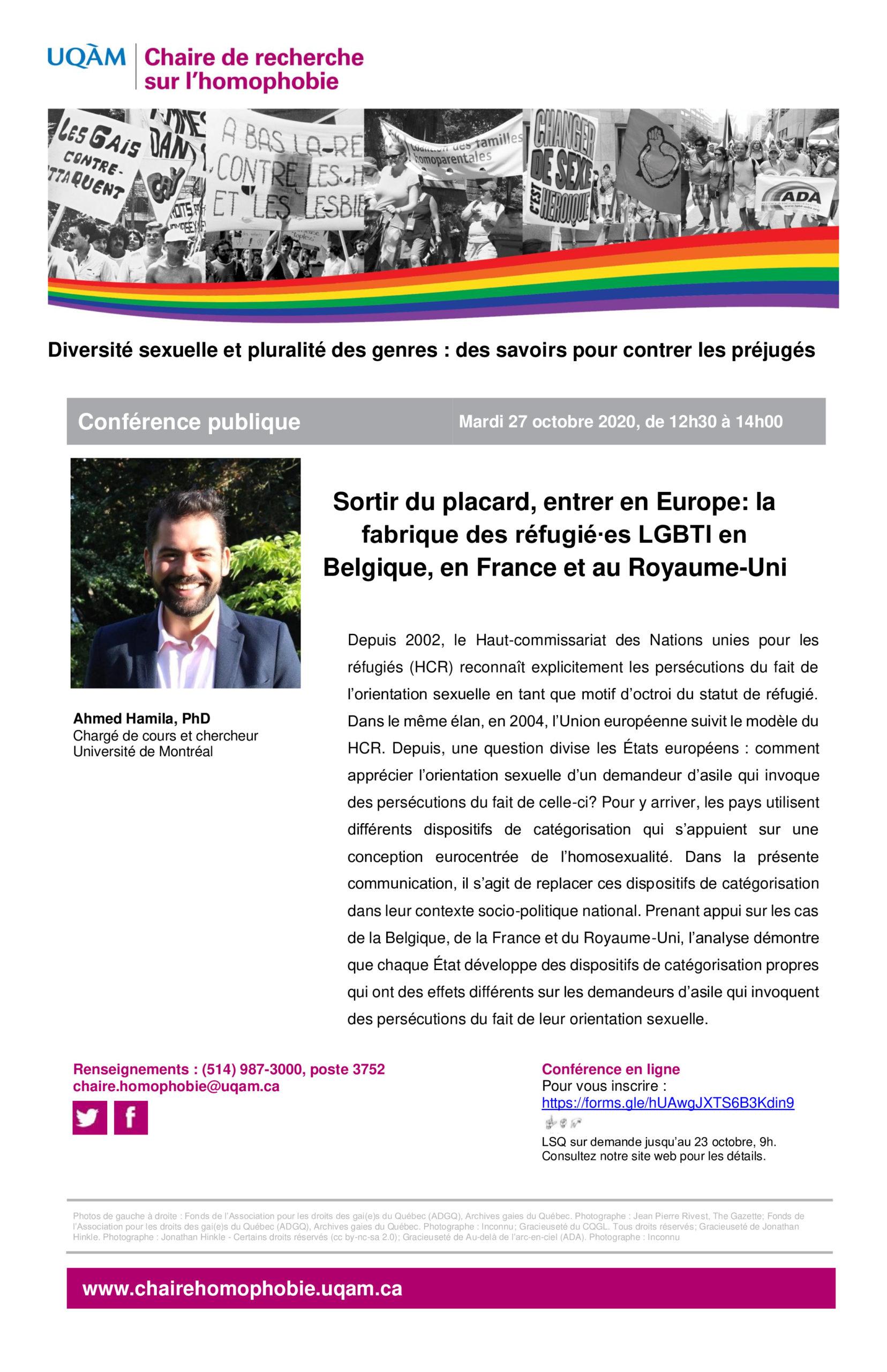 CONFÉRENCE PUBLIQUE | Sortir du placard, entrer en Europe: la fabrique des réfugié∙es LGBTI en Belgique, en France et au Royaume-Uni