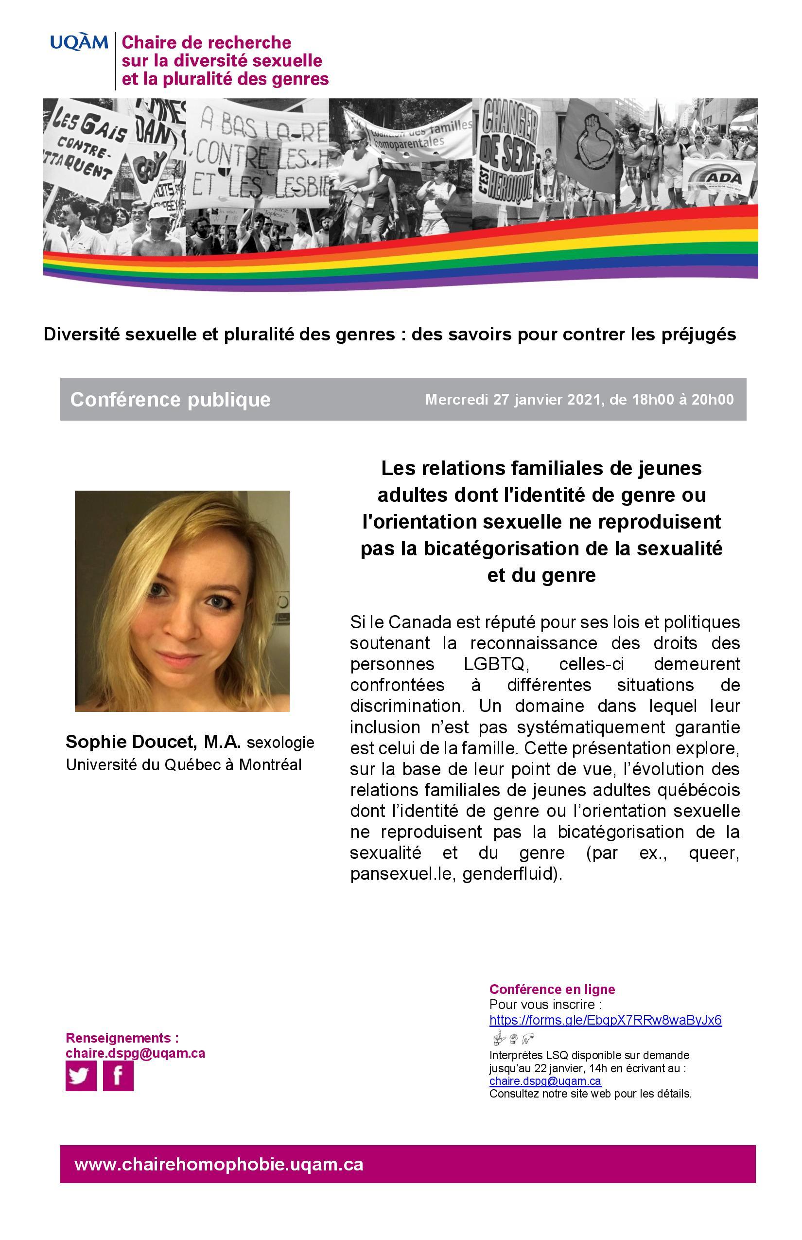 Conférence publique | Les relations familiales de jeunes adultes dont l'identité de genre ou l'orientation sexuelle ne reproduisent pas la bicatégorisation de la sexualité et du genre