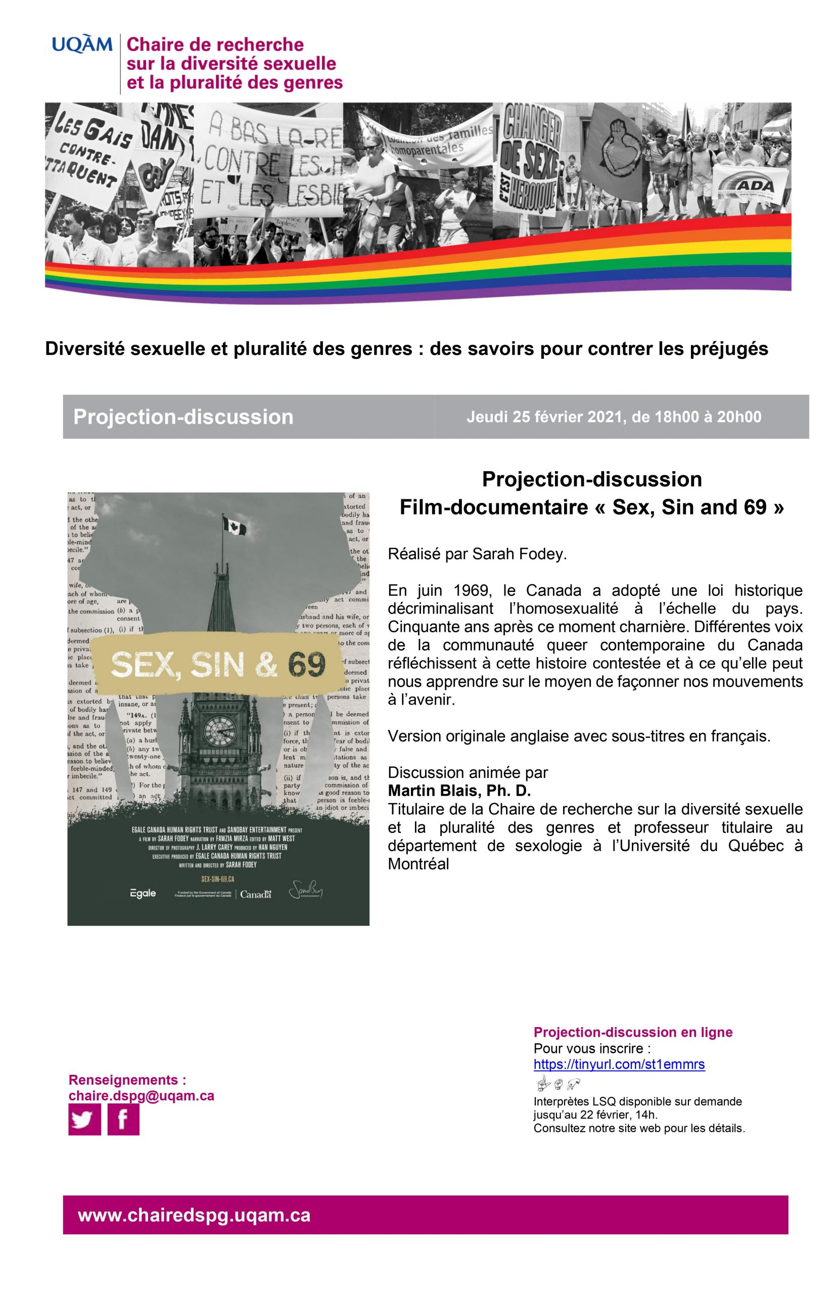 Projection-discussion du film-documentaire Sex, sin and 69