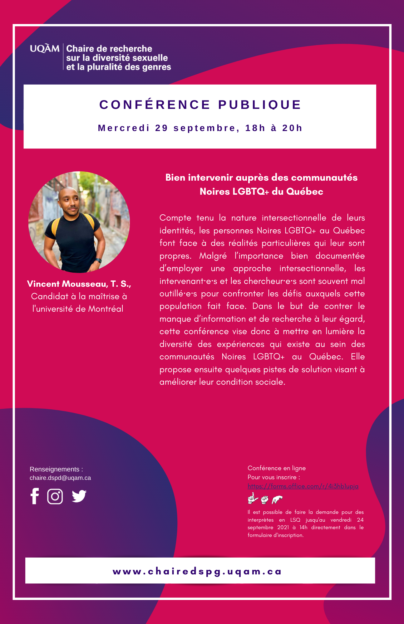 Conférence publique   Bien intervenir auprès des communautés Noires LGBTQ+ du Québec